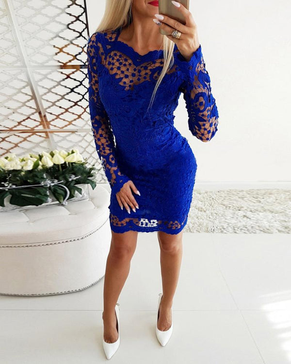 Hollow Out Lace Insert Long Sleeves Dress