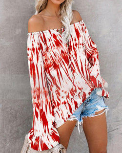 Casual Fashion Floral Long-sleeve Off-shoulder Casual Tops