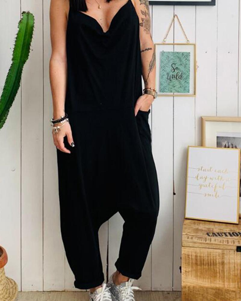 Low-cut Straghetti strap casual jumpsuit