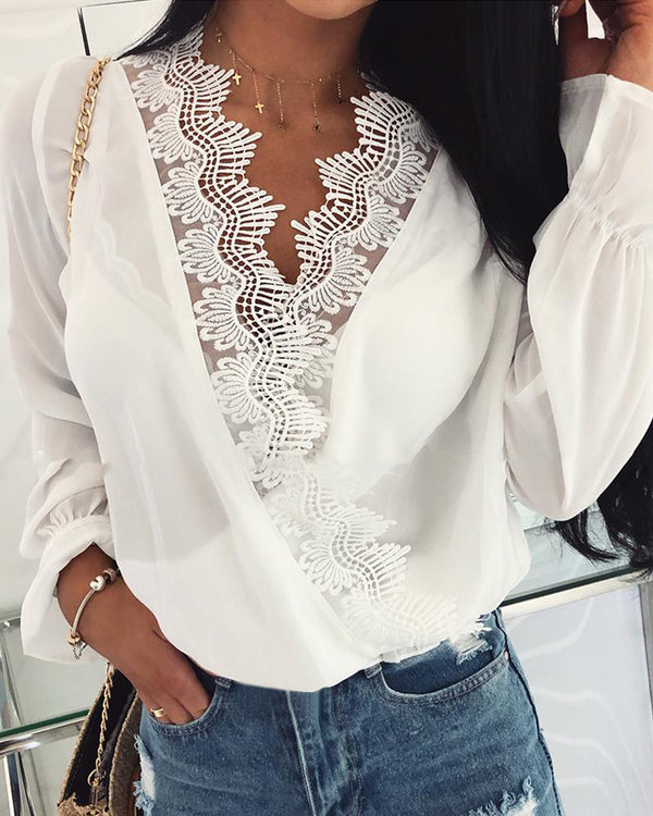 Double V-Neck Lace Trim Casual Blouse
