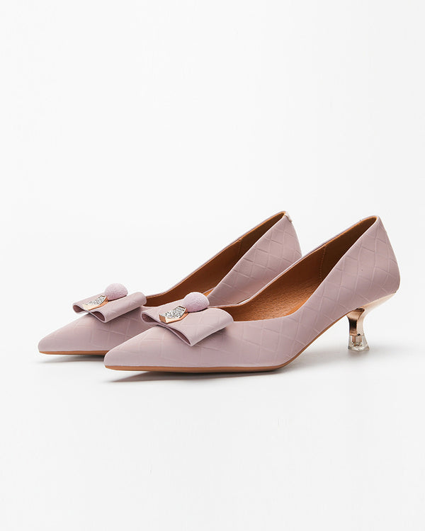 Solid Bowknot Upper Pointed-toe High Heel Sandals
