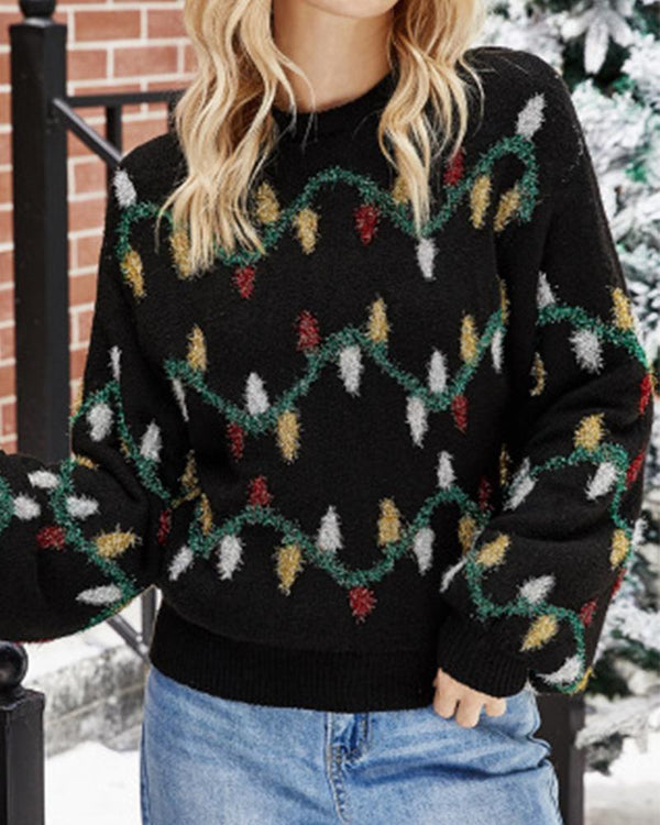 Christmas Printing Long Sleeve Sweater