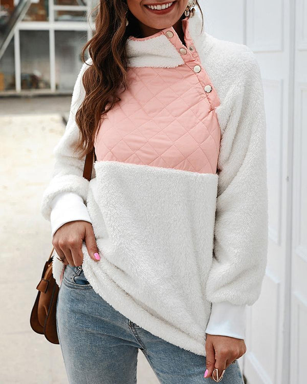 Fluffy Colorblock Buttoned Detail Casual Sweatshirt