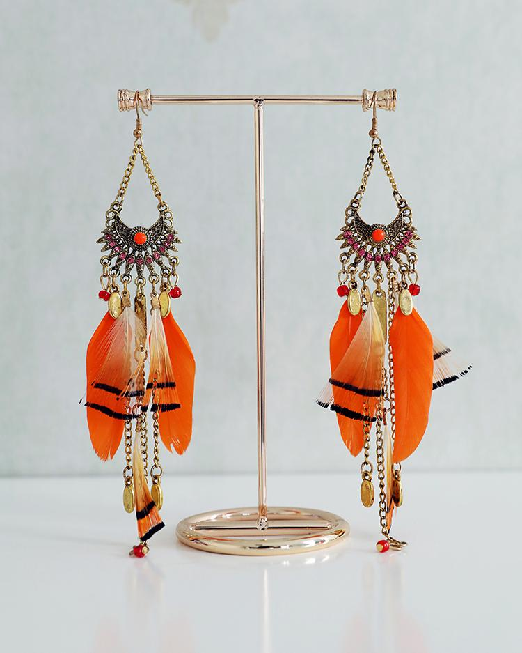Feather Long Tassel Bohemian Jewelry Earrings