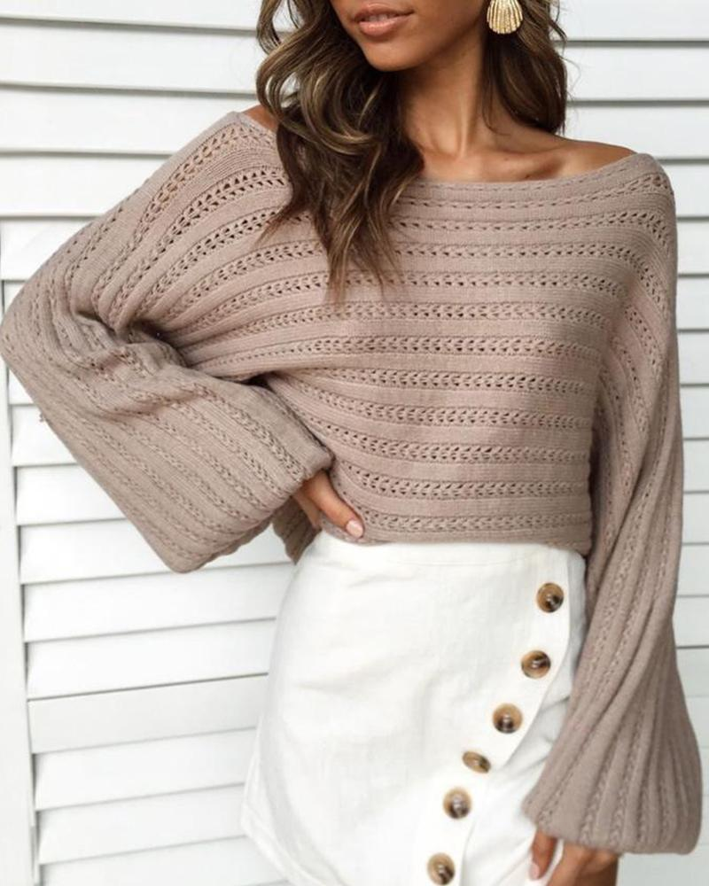 Solid Off Shoulder Pointelle Sweater
