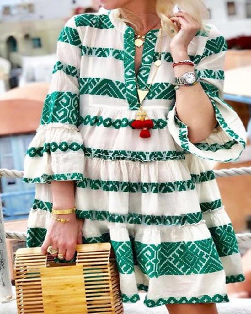 Striped Ethnic Print Casual Dress