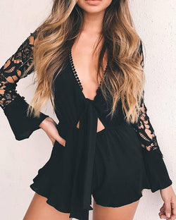 Asymmetric Lace Patchwork Tied Waist Casual Romper