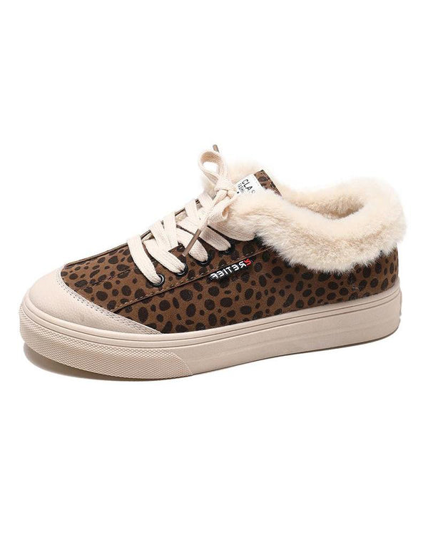 Leopard Lace-Up Sherpa Lined Sneaker