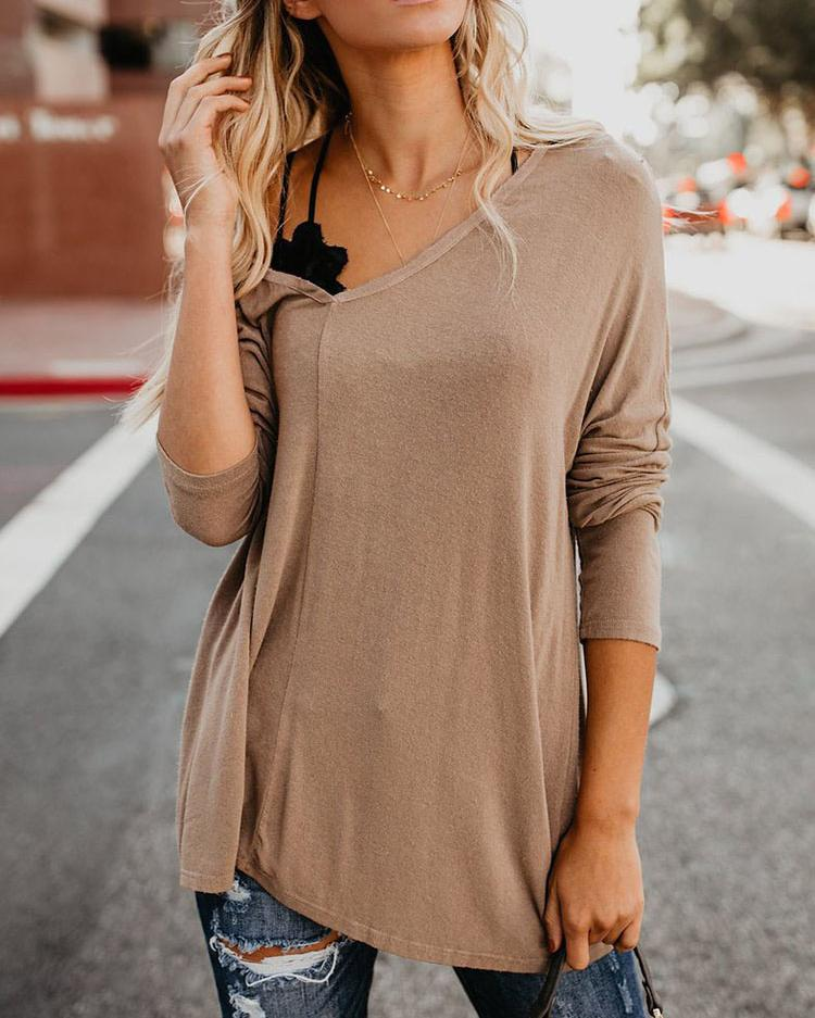 V-Neck Batwing Sleeve Casual Blouse