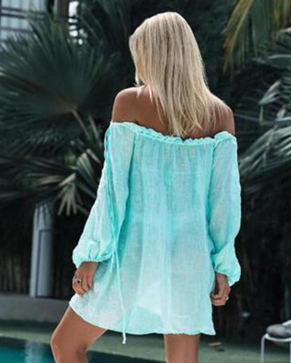 Cotton sunscreen-cardigan bikini blouse