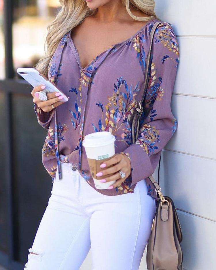 Floral Print Long Sleeve Casual Blouse