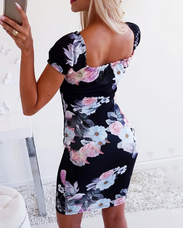 Tied Detail Floral Print Bodycon Dress