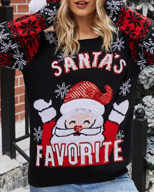 Christmas Embroidery Sequins Casual Sweater