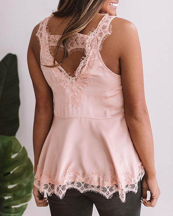 Lace Patchwork Sleeveless Vest Top
