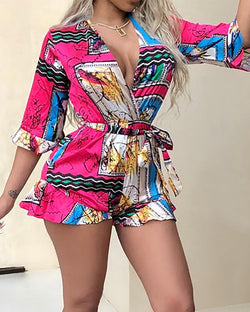 Mixed Print Slef-belted Ruffles Wrap Playsuit