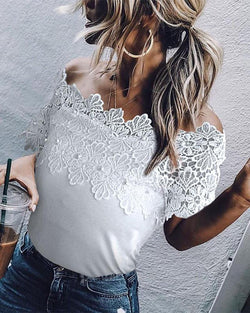 Off-the-shoulder lace blouse
