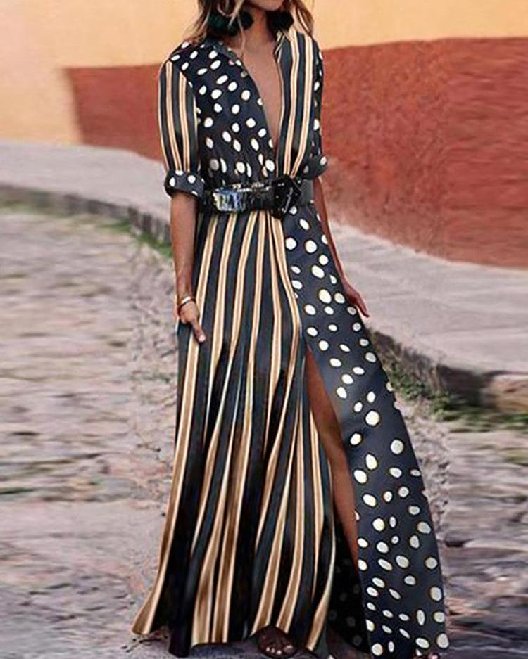 Dots & Stripes Plunge Slit Maxi Dress