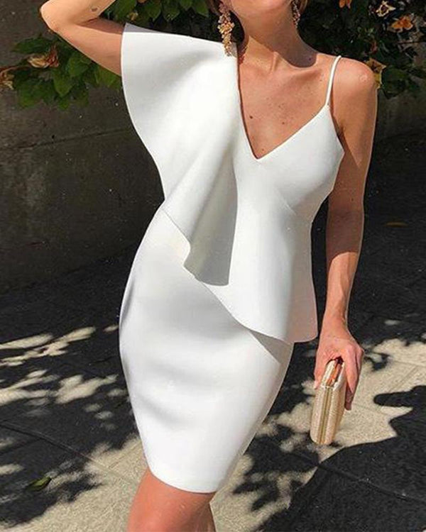 Sexy solid v-neck one shoulder skirt dress