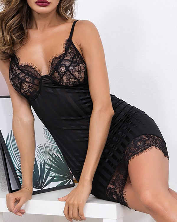 Sheer Eyelash Lace Stripes Babydoll Dress