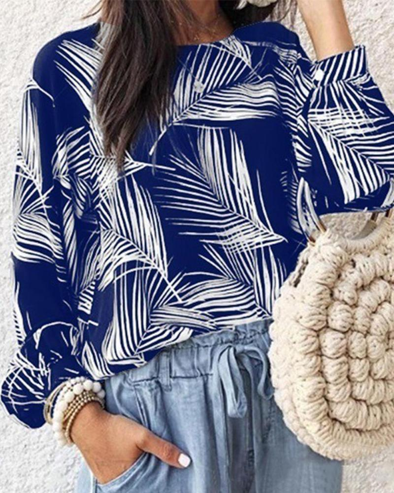 Pine Leaves Print Casual Shirt
