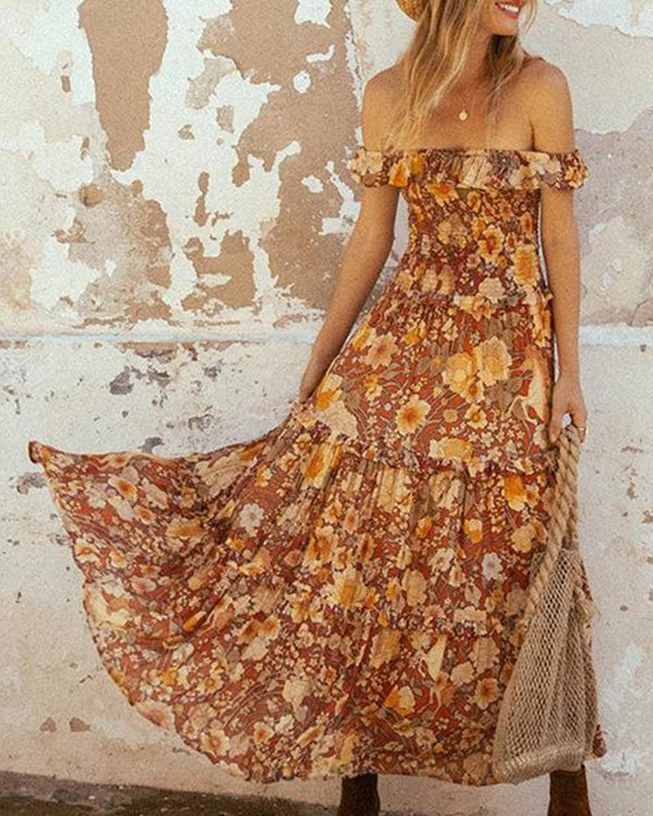 Bohemian Off Shoulder Maxi Dress