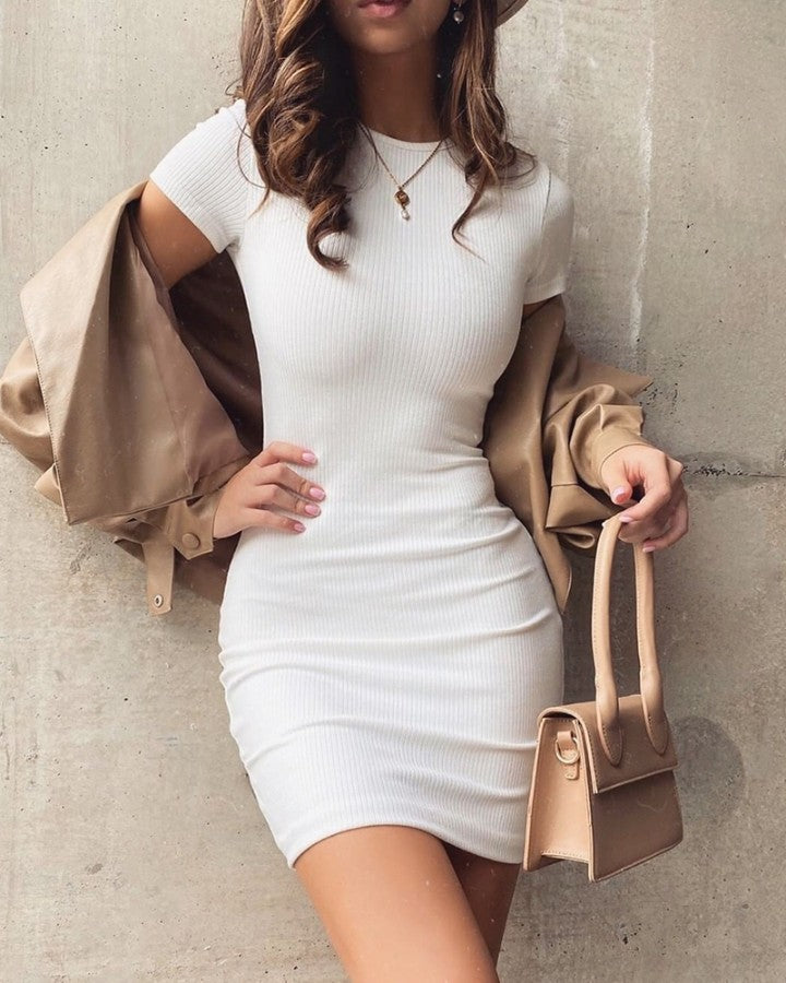 Solid Ribbed Round Neck Casual Dress
