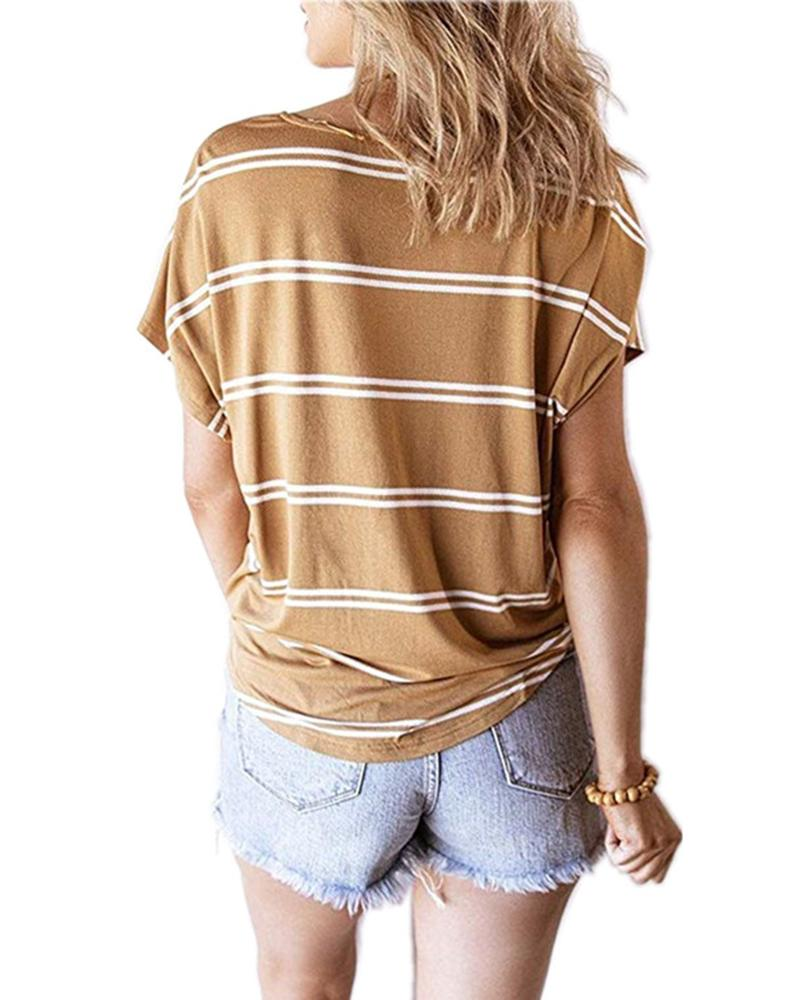 V-neck striped diagonal button Short-sleeve casual T-shirt