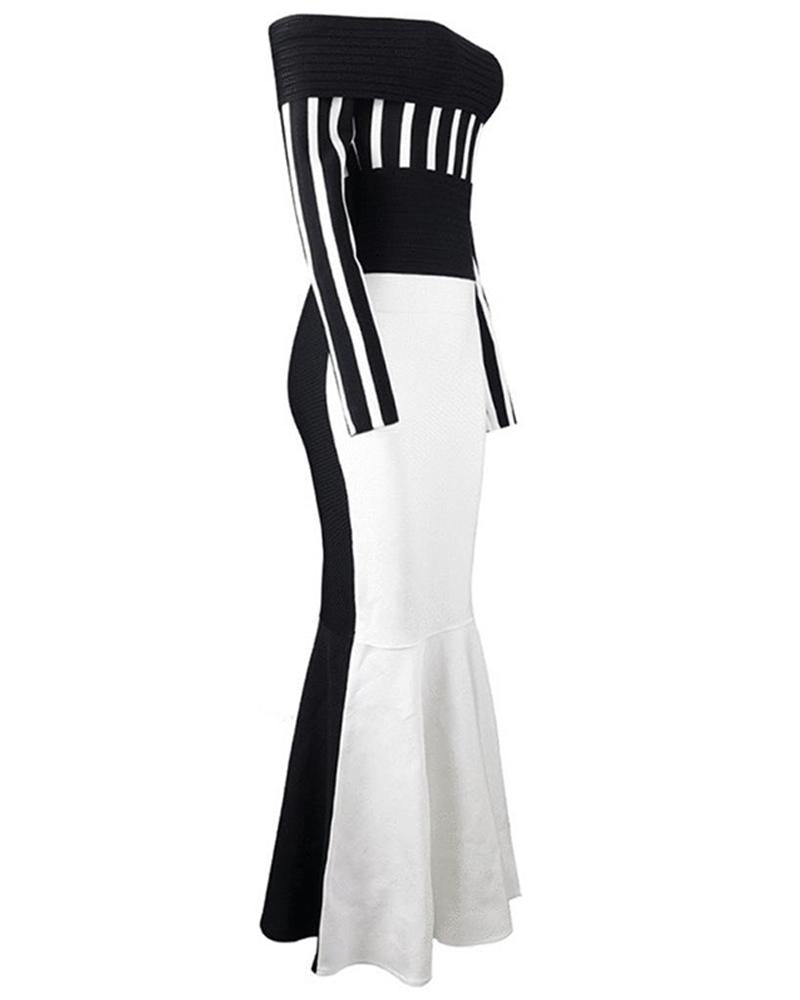 Off Shoulder Striped Contrast Fishtail Maxi Dress