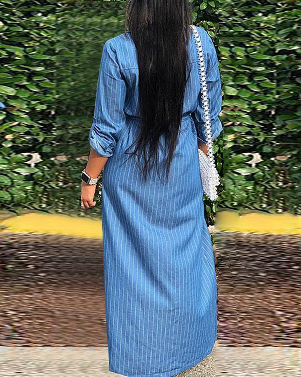 Denim Striped Tied Waist Buttoned Slit Shirt Dress