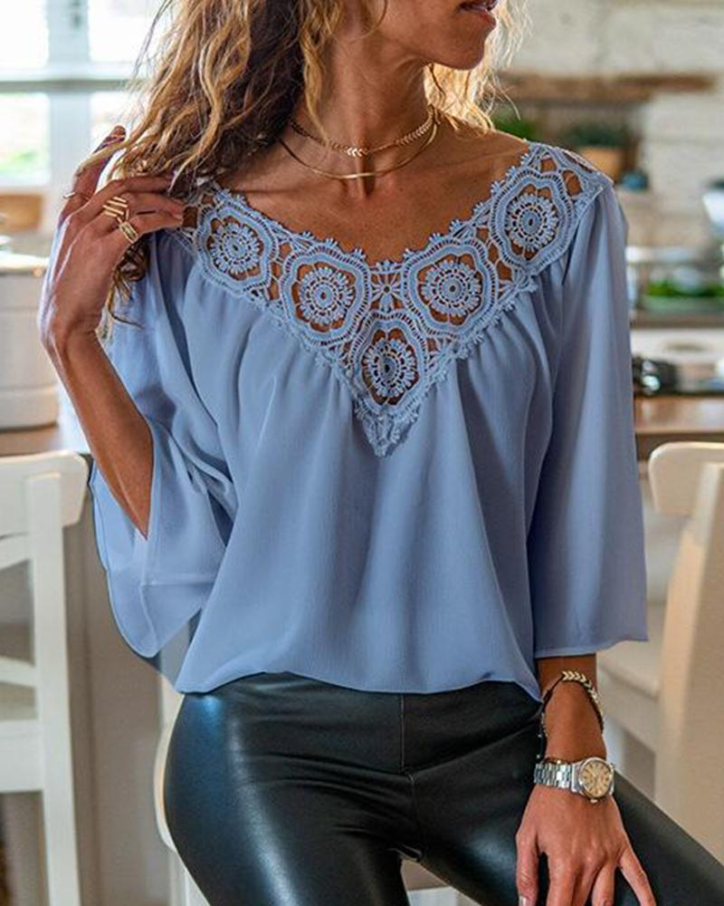 V Neck Lace Trim Blouse
