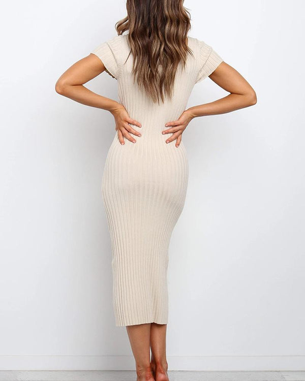 Rib Knit Front Slit Midi Dress