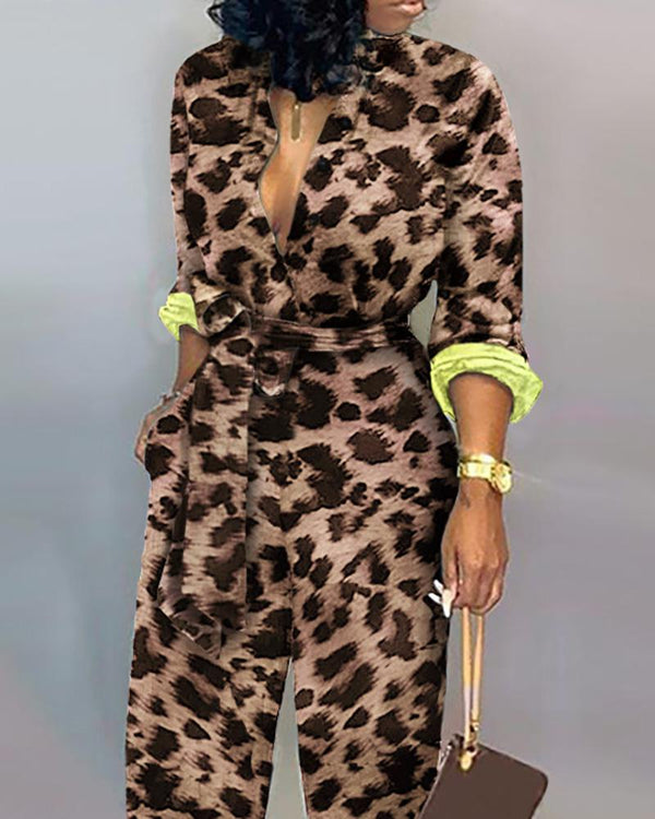 Leopard Long Sleeve Knotted Jumpsuit