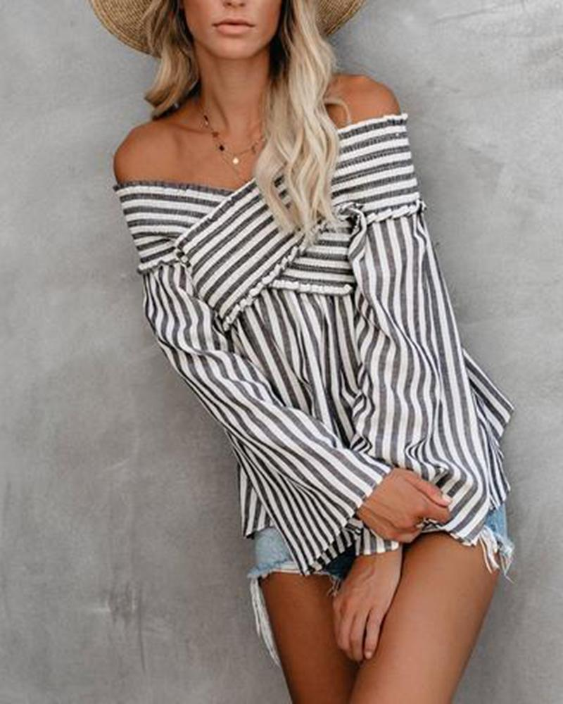 Casual Striped Irregular Blouse