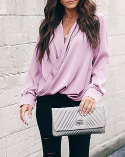 Sleeve V-neck shirt long-sleeved top