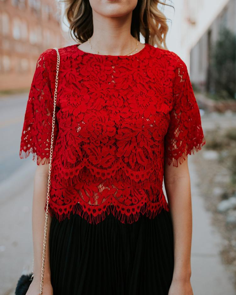 Stylish Crochet Lace Splicing Crop Top