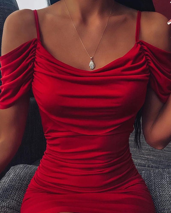 Cold Shoulder Bodycon Mini Cami Dress