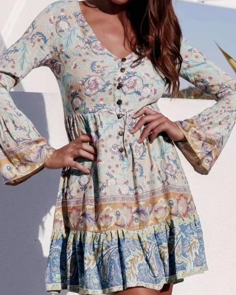 Casual Floral Button-Up Dress