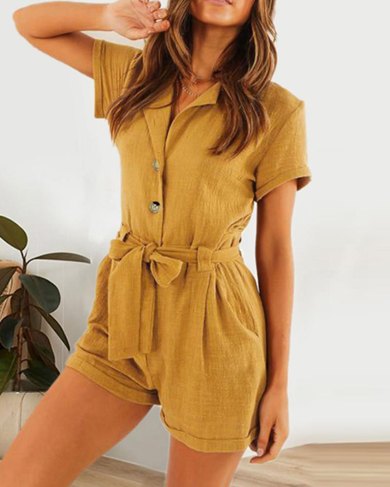 Suit collar with solid color slim two-color cotton and linen jumpsuit