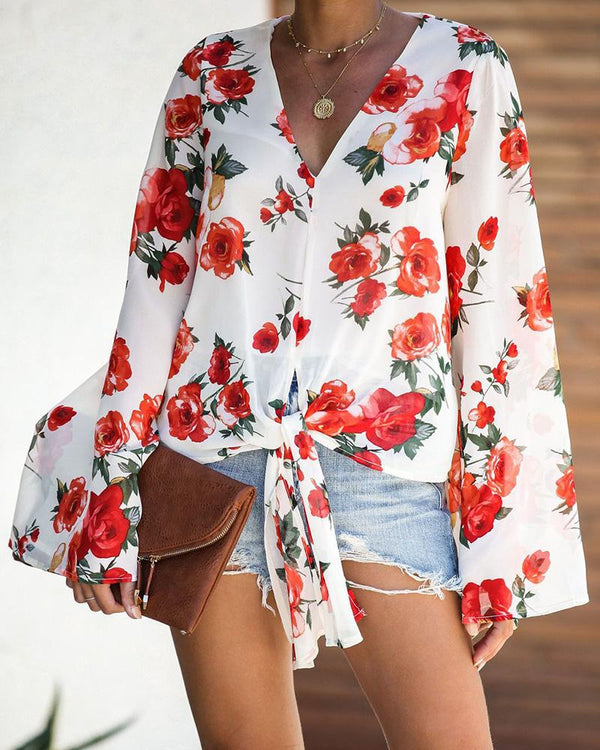 Long Sleeve Floral Print Lace Up Blouse