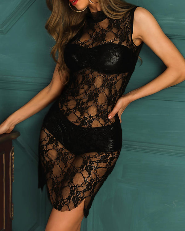 Sheer Lace Babydoll Dress With Panty