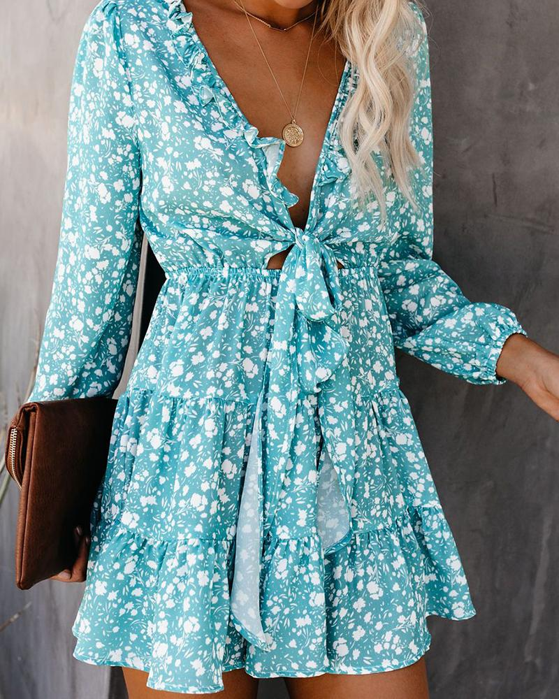 Fashion v-neck print small floral long-sleeved Dress