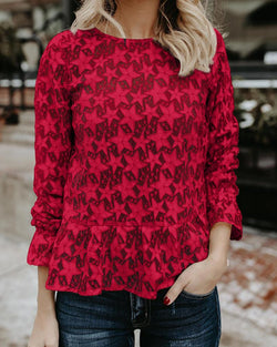Round neck full lace perspective slim long-sleeved Shirt