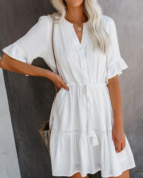 V collar ruffled elastic short sleeve white mini dress