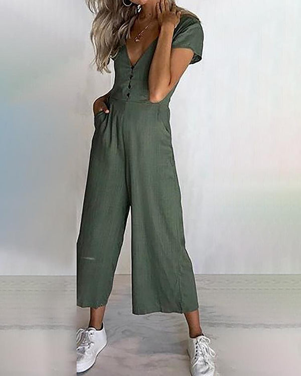 Solid Button Pocket Design Wide Leg Jumpsuit