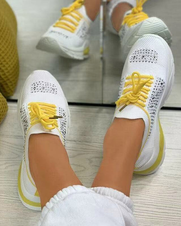 Round-toe Color Block Lace-up Splicing Rhinestone Sneakers