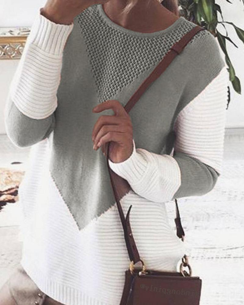 Round Collar Pointelle Long Sleeve Sweater