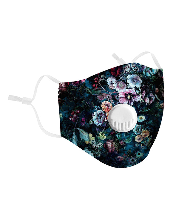 Floral Print Breathing Washable Valve Face Mask (2 filters as gift) Without Cord Lock Toggles