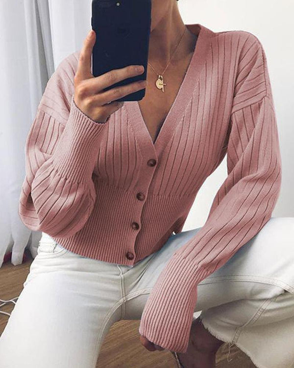 Solid color button cardigan sweater sexy V-neck sweater coat