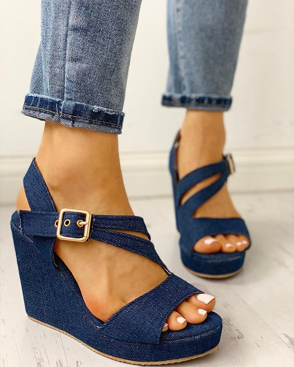 Denim Buckled Platform Wedge Sandals