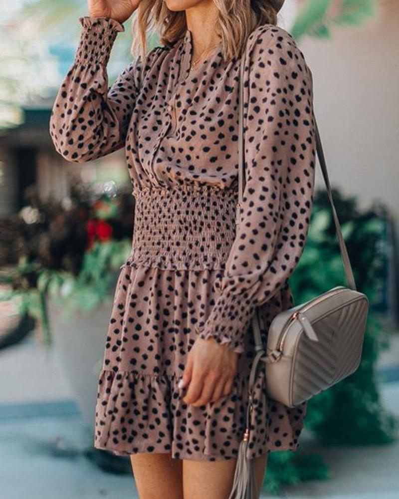 Polka Dot Smocked Waist Dress